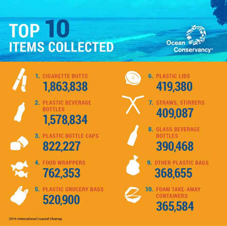 Items collected in ocean